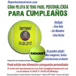 Pelota Tenis Padel Gigante PERSONALIZADA Para Cumpleaños Imagen Nombre