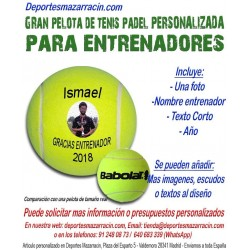 Pelota Tenis Padel Gigante PERSONALIZADA Para entrenadores Imagen Nomb