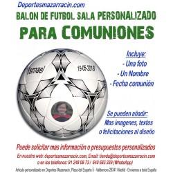 Balón de Futbol Sala PERSONALIZADO Para comunion Imagen foto Nombre fecha mikasa