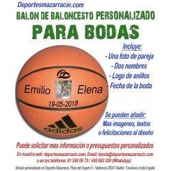 Balón de Baloncesto PERSONALIZADO Para bodas Imagen pareja Nombres novios anillos fecha Adidas All court