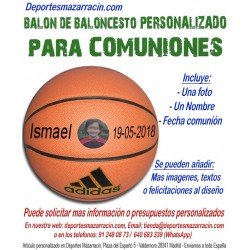 Balón Baloncesto PERSONALIZADO Para comunion Imagen foto Nombre fecha Adidas All court