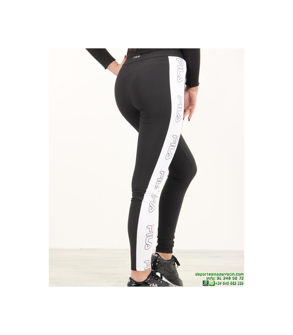 d53df1bc4 Malla Larga FILA Legging A Bandas Negro-Blanco 682038 mujer
