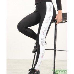 Malla Larga FILA Legging A Bandas Negro-Blanco 682038 mujer gimnasio