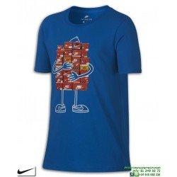 Camiseta Junior NIKE SPORTWEAR Azul Algodon 913111-465 manga corta niño