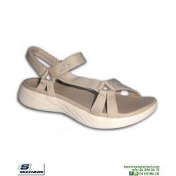 Sandalia SKECHERS ON THE GO 600 Mujer Brilliancy natural beige chancla femenina 15316/NAT