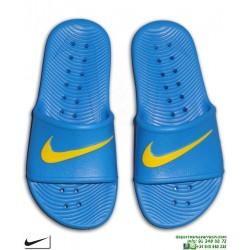 Chancla Nike KAWA SHOWER Junior Azul-AmarilloSandalia pala junior AQ0899-400 piscina playa chico