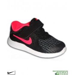 Zapatilla Infantil NIKE REVOLUTION 4 Niña Velcro negro-rosa TDV 943308-004 deporte junior