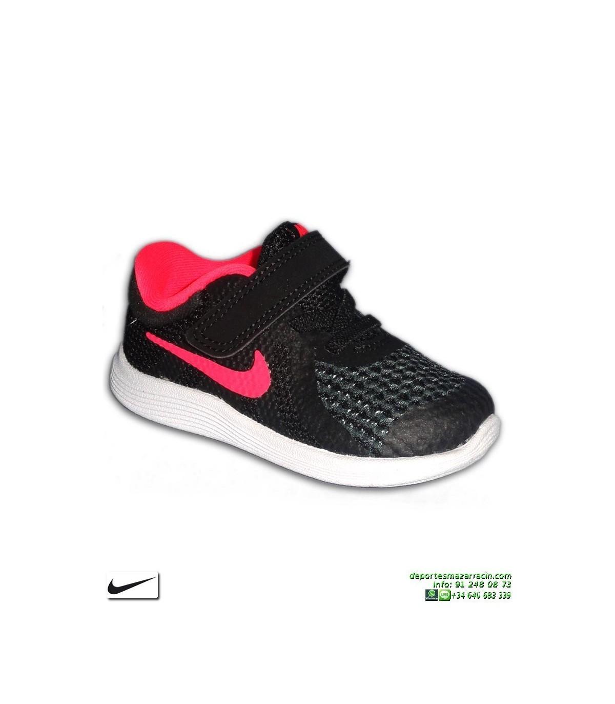54205d3ec Zapatilla Infantil NIKE REVOLUTION 4 Niña Velcro negro-rosa TDV