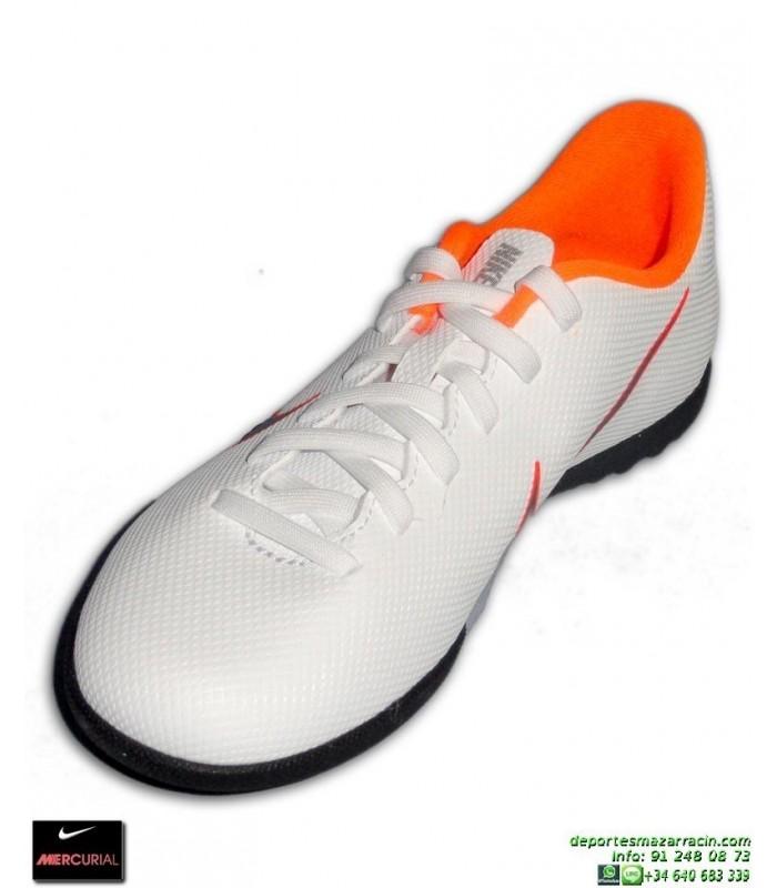 b2e1c9f0e Nike MERCURIAL VAPOR 12 CLUB Niño Blanca Zapatilla Cristiano Ronaldo  mundial Futbol Turf AH7355-107