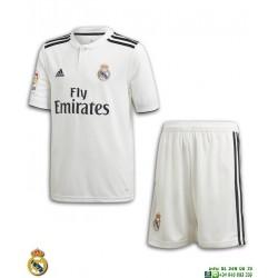 Equipacion REAL MADRID 2018-2019 Blanca 1ª Camiseta Junior Adidas Oficial LFP CG0553 futbol