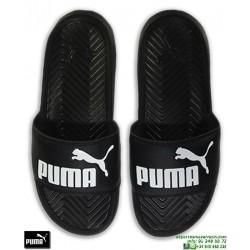 Chancla Puma Mujer POPCAT Negro-Blanco sandalia pala mujer playa piscina 360265-10 chica