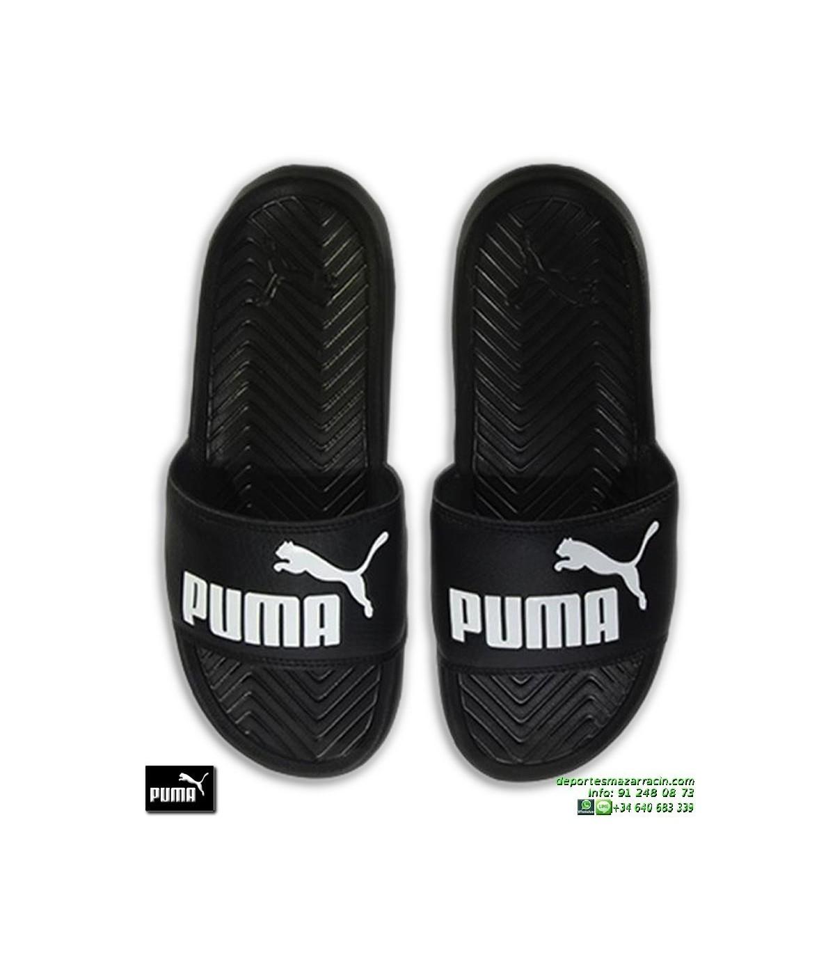 6c8dc179f Chancla Puma Mujer POPCAT Negro-Blanco sandalia pala mujer