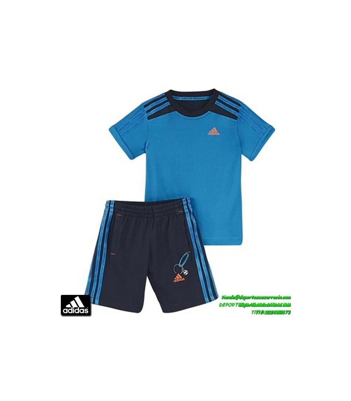 efef9a0bd ADIDAS conjunto niño azul SUMMER SET camiseta mas short