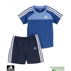 Conjunto Bebe ADIDAS I J 3S SET Camiseta y pantalón Azul