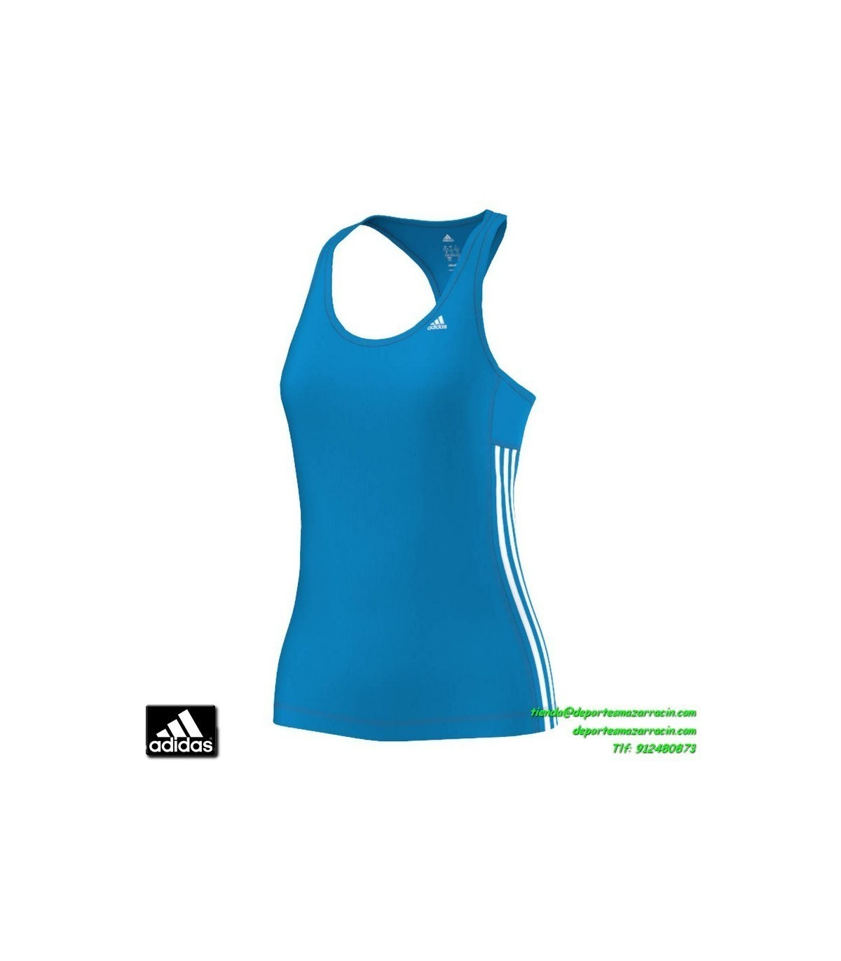 3502ab90c ADIDAS camiseta tirantes deporte mujer AZUL TRANSPIRABLE