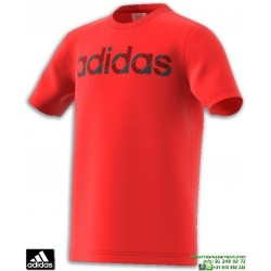 Camiseta ADIDAS Para Niños LINEAR Roja Algodon CV6147 manga corta