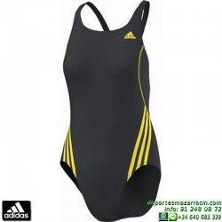 Bañador ADIDAS  1S 1PC Natacion Mujer Gris Amarillo infinitex AB7033 lycra piscina climatizada