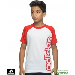 Camiseta ADIDAS YB LR B TEE Blanco-Rojo Manga Corta Junior niño AA8177