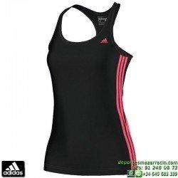Camiseta Mujer Tirantes ADIDAS ESS MID 3STANK NEGRA AC2896 ClimaLite TRANSPIRABLE gimnasio fitness running tenis padel