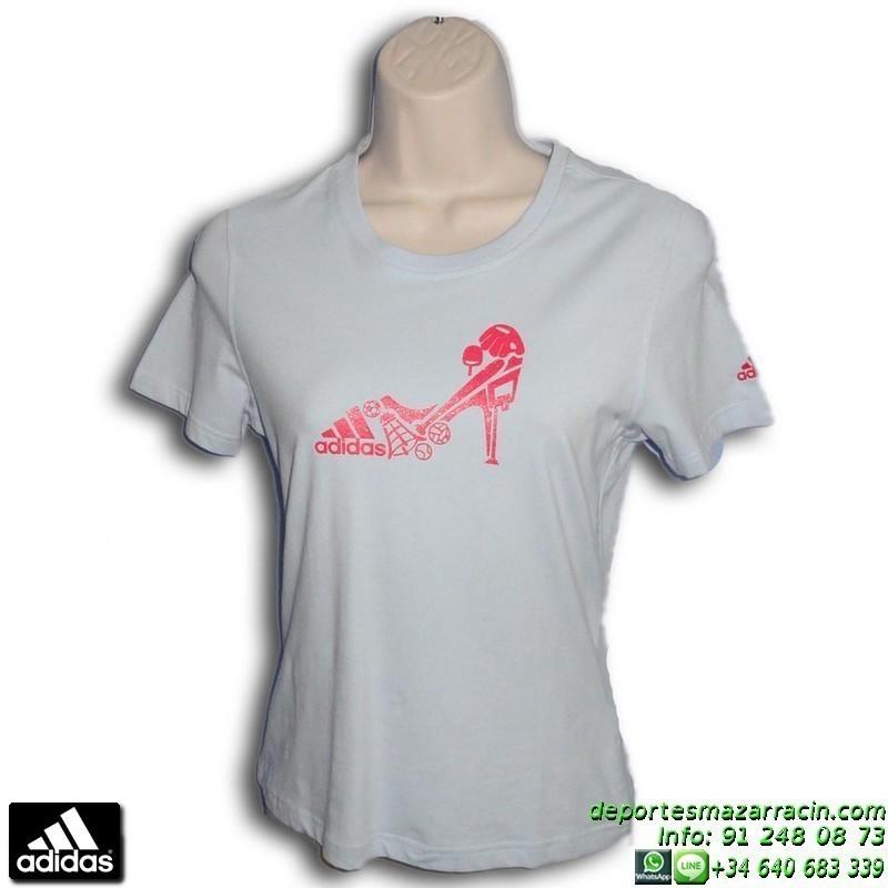esponja Dictadura bestia  Camiseta Mujer ADIDAS STILETTO SPORT Azul Celeste 651038 algodon
