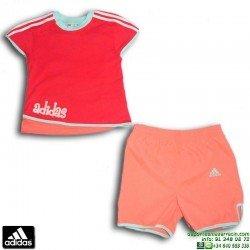 Conjunto ADIDAS Baby Niña Camiseta + Short E17353 Rojo-Coral