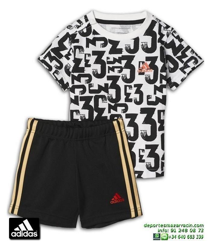 33ad8ff5dff Conjunto ADIDAS I SUM SET COUNT Infantil Blanco-Negro BK3003 baby camiseta  pantalon