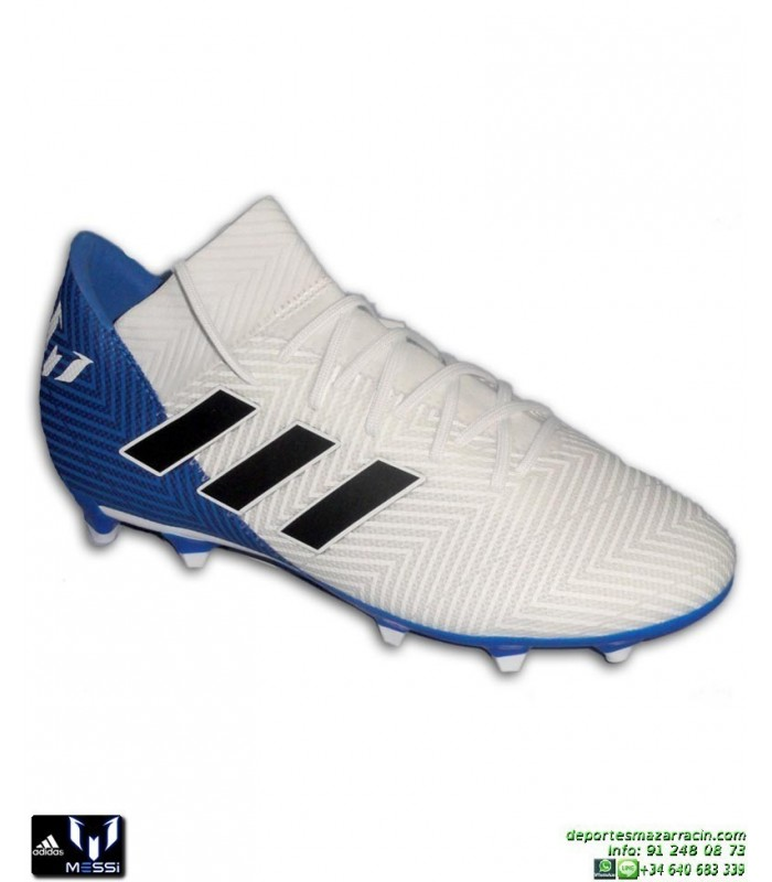 detailed pictures 1f305 efb39 ADIDAS NEMEZIZ MESSI 18.3 Blanco-Azul Bota Futbol Hierba DB2111 personalizar