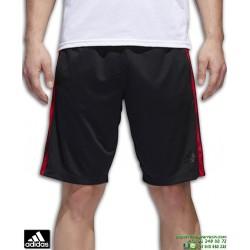 Pantalon Corto ADIDAS D2M 3S SHORT Negro-Rojo BQ3185 hombre bermuda tenis padel clima lite cool gimnasio