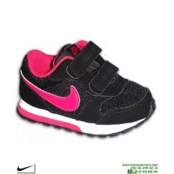 Zapatilla Nike MD RUNNER 2 Infantil Niña TD Velcro Negro-Rosa 807328-006