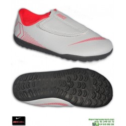 Nike MERCURIAL VAPOR 12 CLUB Niño Gris Zapatilla Futbol Velcro Turf AH7357-060