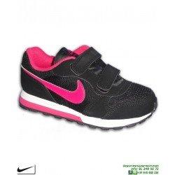 Zapatilla Nike Para Niñas MD RUNNER 2 PSV Negro-Rosa Velcro 807320-006