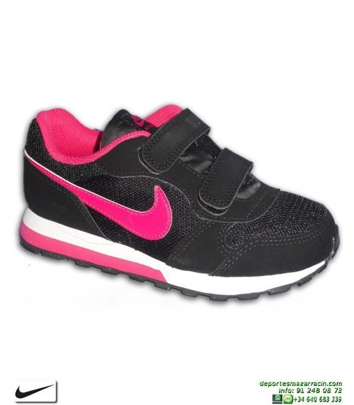 9961bbdd3 Zapatilla Nike Para Niñas MD RUNNER 2 PSV Negro-Rosa Velcro 807320-006