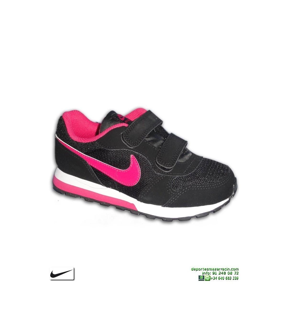 d8f30cd28df Zapatilla Nike Para Niñas MD RUNNER 2 PSV Negro-Rosa Velcro 807320-006