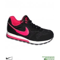 Zapatilla Chica Nike MD RUNNER 2 Negro-Rosa 807316-411 Deportiva mujer