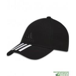 Gorra ADIDAS 6 PANELES 3 STRIPES CAP COTTON negro S98156 visera