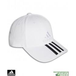 Gorra ADIDAS 6 PANELES 3 STRIPES CAP COTTON Blanco-Negro BK0806