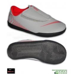 4bbbd494af0d9 Nike MERCURIAL VAPOR 12 CLUB Niño Gris Zapatilla Futbol Sala Velcro