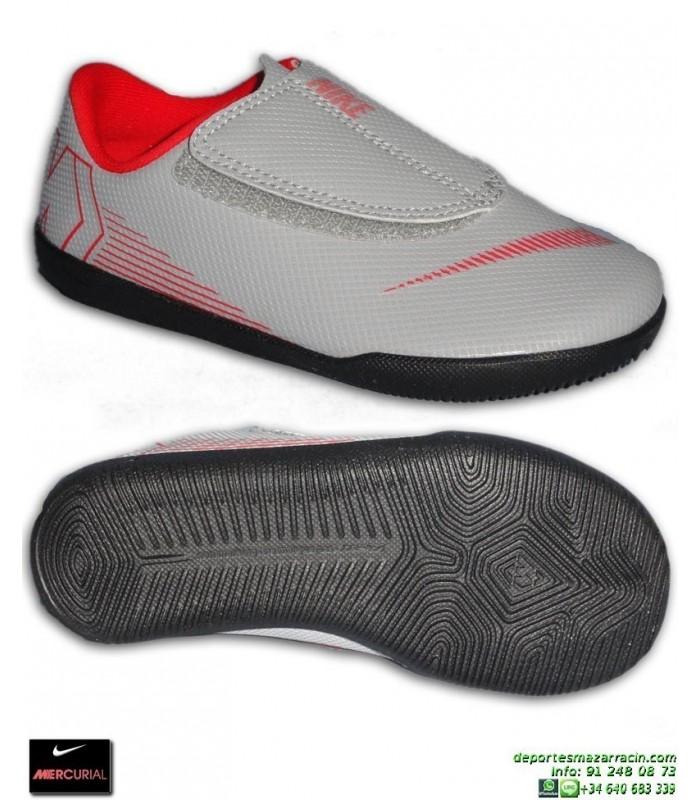 2fb3d27b95b12 Nike MERCURIAL VAPOR 12 CLUB Niño Gris Zapatilla Futbol Sala Velcro  AH7356-060 bota junior