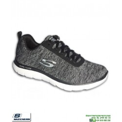 Deportiva Mujer Skechers Flex Appeal 2.0 Negro-Blanco 12753/BKW plantilla Memory Foam
