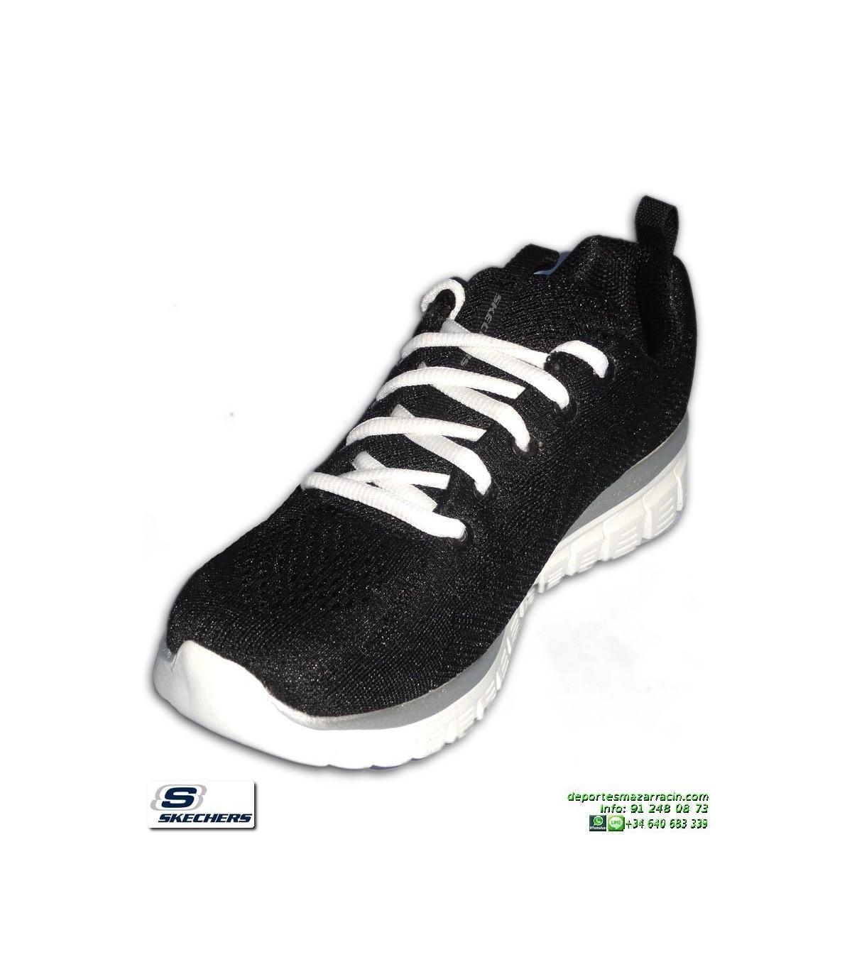 cf4cddd3b83 Deportiva Skechers Mujer GRACEFUL Get Connected Negro-Blanco 12615 BKW  PANTILLA Memory Foam. Deportiva Skechers ...