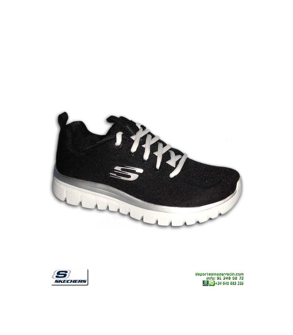 Deportiva Skechers Mujer GRACEFUL Get Connected Negro Blanco Memory Foam