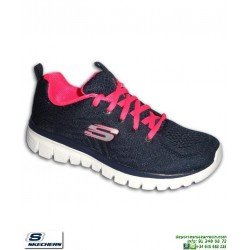 Deportiva Skechers Mujer GRACEFUL Get Connected marino-rosa 12615/NVHP PANTILLA Memory Foam