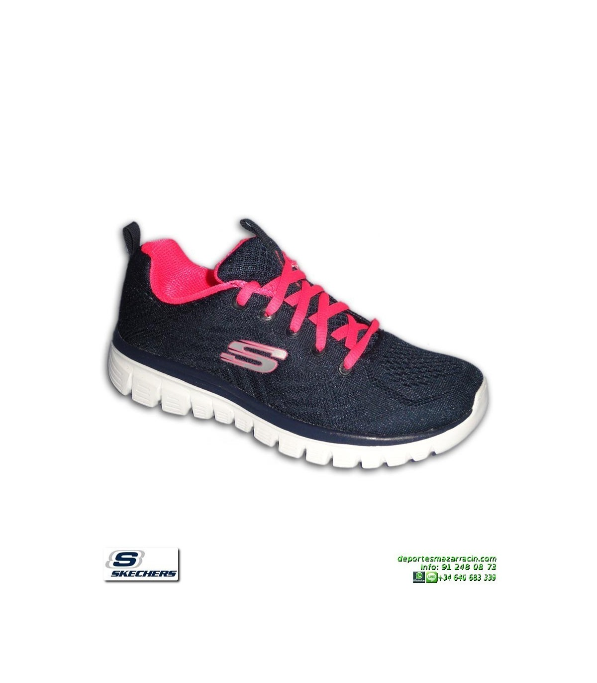 86bb364f6 Deportiva Skechers Mujer GRACEFUL Get Connected marino-rosa 12615 NVHP  PANTILLA Memory Foam. Deportiva Skechers ...