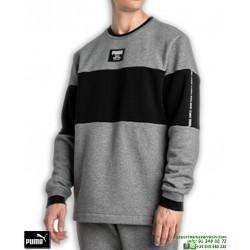 Sudadera Clasica PUMA Rebel Block CREW Negro-Gris 852399-03 hombre algodon