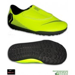 Nike MERCURIAL VAPOR 12 CLUB Niño AMARILLO fluor Zapatilla Futbol Velcro Turf AH7357-701