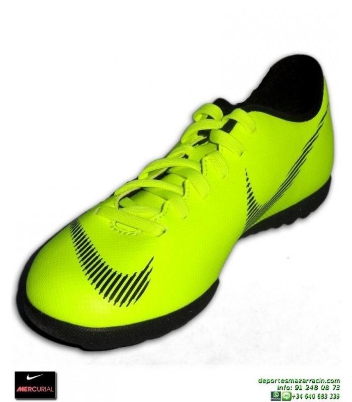 f68e72b14 Nike MERCURIAL VAPOR 12 CLUB Niño AMARILLO fluor Zapatilla Futbol Turf  AH7355-701 bota junior