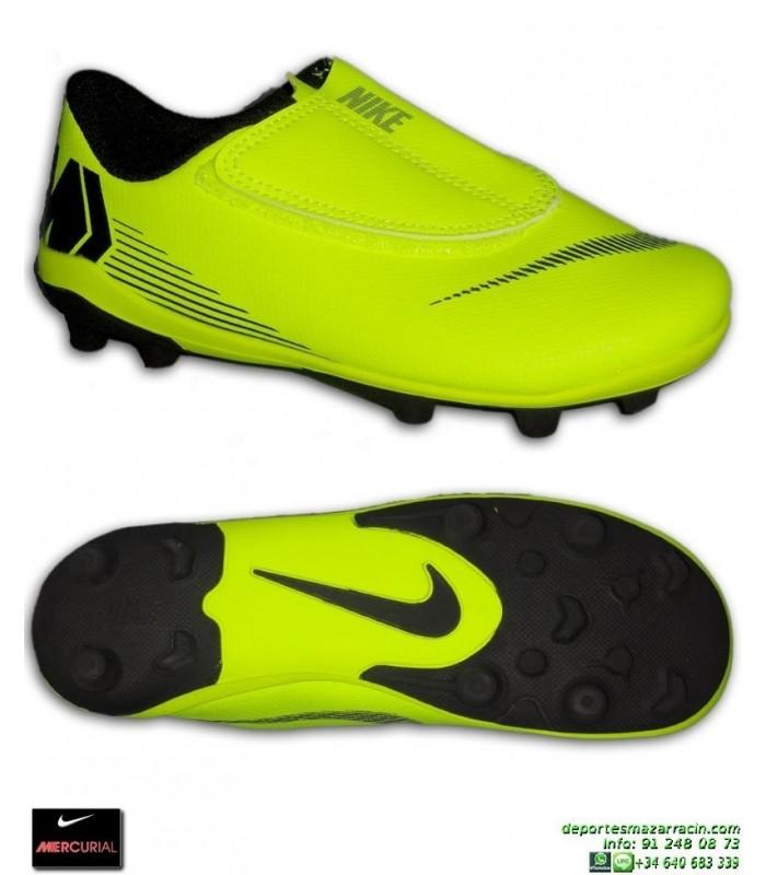 the latest f2118 8b69a Nike MERCURIAL VAPOR 12 CLUB Niño amarilla Bota Futbol Tacos Velcro  AH7351-701 junior hierba