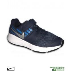 Zapatilla Niño NIKE STAR RUNNER Velcro azul marino PSV 921443-406 deporte