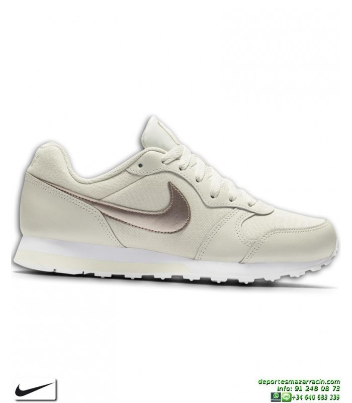 Zapatilla Chica Nike MD RUNNER 2 Crema-Bronce