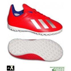 Zapatilla Futbol Niño ADIDAS X Rojo Turf 18.4 BB9417 Minitacos Bale Marcelo Diego Costa Salah James